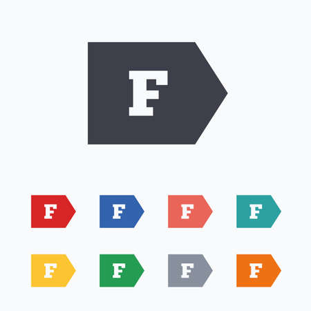 consumption: Energy efficiency class F sign icon. Energy consumption symbol. Colored flat icons on white background. Illustration