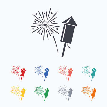 pyrotechnic: Fireworks with rocket sign icon. Explosive pyrotechnic symbol. Colored flat icons on white background. Illustration