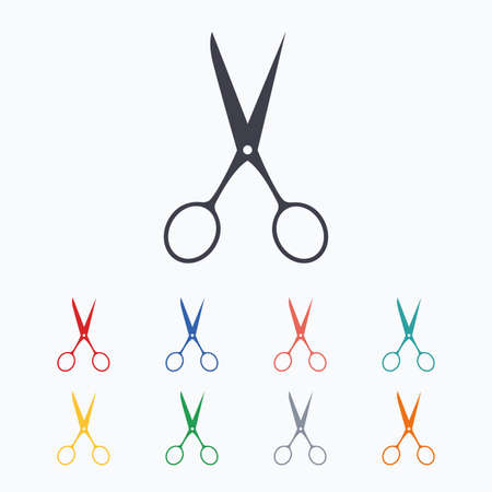 disclosed: Scissors hairdresser sign icon. Tailor symbol. Colored flat icons on white background. Illustration