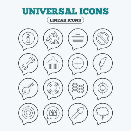 rubbish cart: Universal icons. Information, shopping basket and shower. Repair tool, home key and brush. Comic speech bubble, target aim and quotes. Linear icons in speech bubbles.