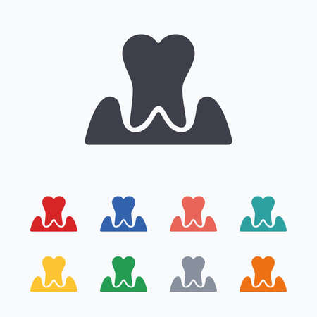 gingivitis: Parodontosis tooth icon. Gingivitis sign. Inflammation of gums symbol. Colored flat icons on white background. Illustration