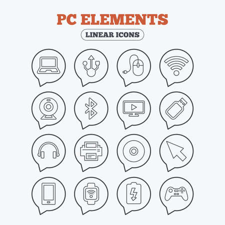 usb port: Computer elements icons. Notebook, usb port and smartphone. Printer, smart watch and game console joystick. Bluetooth, flash stick and cursor pointer. Linear icons in speech bubbles.