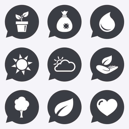 humus: Garden sprout, leaf icons. Nature and weather signs. Sun, cloud and tree symbols. Flat icons in speech bubble pointers.