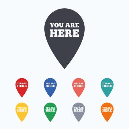 te negro: Estás aquí icono de la muestra. Información puntero del mapa con su ubicación. iconos planos de colores sobre fondo blanco.