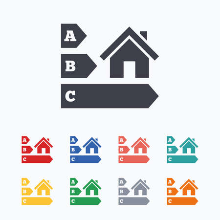 economy class: Energy efficiency sign icon. House building symbol. Colored flat icons on white background. Illustration
