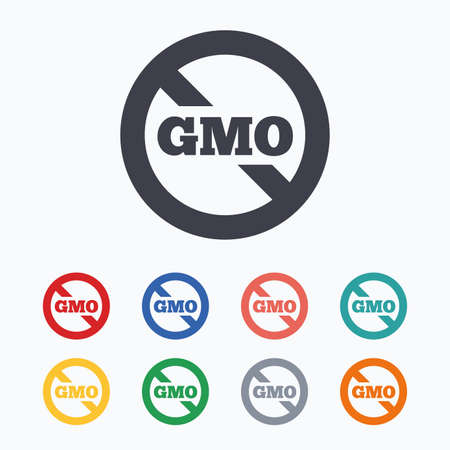gmo: No GMO sign icon. Without Genetically modified food. Stop GMO. Colored flat icons on white background. Illustration