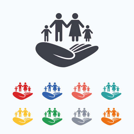 hand colored: Family life insurance sign. Hand holds human group symbol. Health insurance. Colored flat icons on white background. Illustration