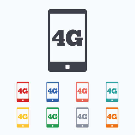 4g: 4G sign icon. Mobile telecommunications technology symbol. Colored flat icons on white background. Illustration