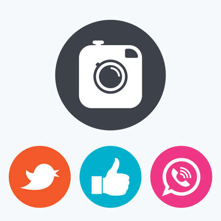 Hipster photo camera icon. Like and Call speech bubble sign. Bird symbol. Social media icons. Circle flat buttons with icon.