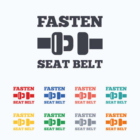 to fasten: Fasten seat belt sign icon. Safety accident. Colored flat icons on white background. Illustration