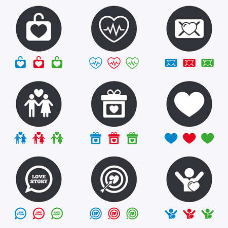 oath: Love, valentine day icons. Target with heart, oath letter and locker symbols. Couple lovers, heartbeat signs. Flat circle buttons with icons.
