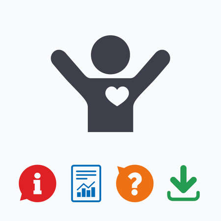 think up: Fans love icon. Man raised hands up sign. Information think bubble, question mark, download and report. Illustration