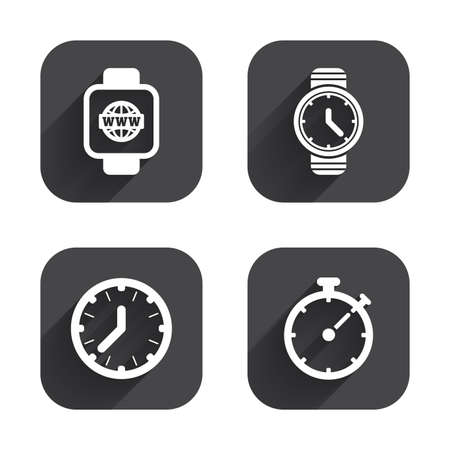 swiss insignia: Smart watch with internet icons. Mechanical clock time, Stopwatch timer symbols. Wrist digital watch sign. Square flat buttons with long shadow.