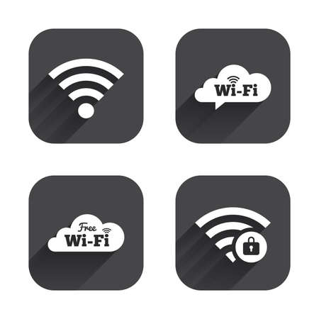 protected: Free Wifi Wireless Network cloud speech bubble icons. Wi-fi zone locked symbols. Password protected Wi-fi sign. Square flat buttons with long shadow. Illustration