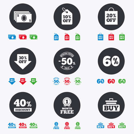 40 50: Sale discounts icon. Shopping cart, buying and cash money signs. 40, 50 and 60 percent off. Special offer symbols. Flat circle buttons with icons.