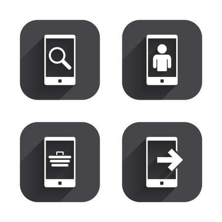 Phone icons. Smartphone video call sign. Search, online shopping symbols. Outcoming call. Square flat buttons with long shadow.