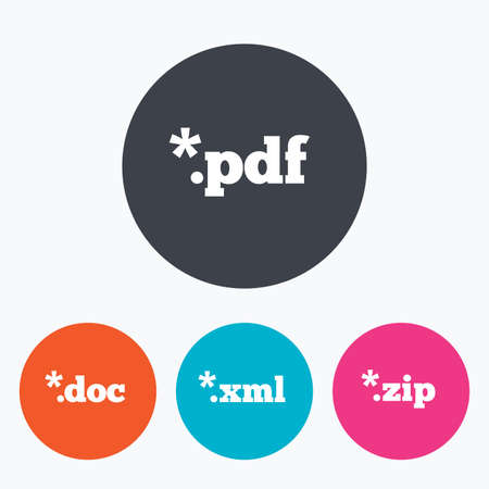xml: Document icons. File extensions symbols. PDF, ZIP zipped, XML and DOC signs. Circle flat buttons with icon. Illustration