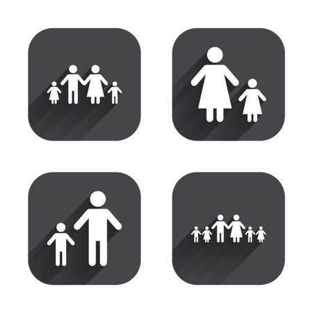 子供たちのアイコンと大家族。親と子供のシンボル。ひとり親家族のサイン。父と母の離婚。正方形の長い影とフラットなボタン。
