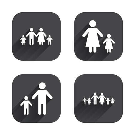 Large family with children icon. Parents and kids symbols. One-parent family signs. Mother and father divorce. Square flat buttons with long shadow. Ilustração
