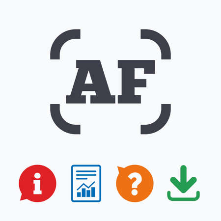 autofocus: Autofocus photo camera sign icon. AF Settings symbol. Information think bubble, question mark, download and report. Illustration
