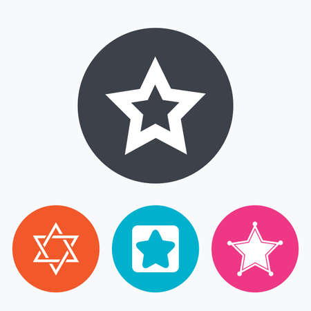 estrella de david: Estrella de David iconos. signo de polic�a Sheriff. S�mbolo de Israel. Un c�rculo botones planos con el icono. Vectores