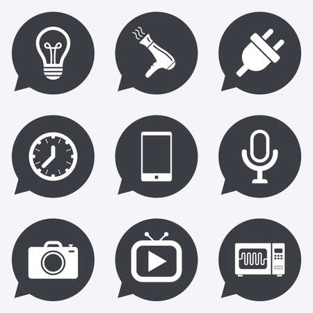 electrical plug: Home appliances, device icons. Electronics signs. Lamp, electrical plug and photo camera symbols. Flat icons in speech bubble pointers.