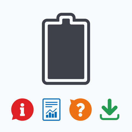 fully: Battery fully charged sign icon. Electricity symbol. Information think bubble, question mark, download and report. Illustration