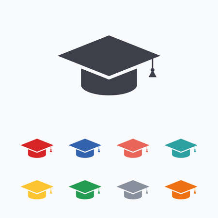 higher: Graduation cap sign icon. Higher education symbol. Colored flat icons on white background.