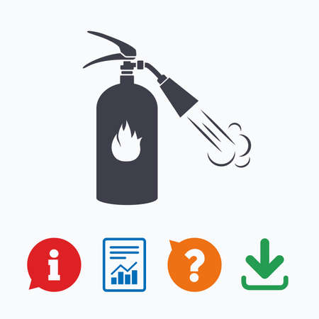 think safety: Fire extinguisher sign icon. Fire safety symbol. Information think bubble, question mark, download and report.