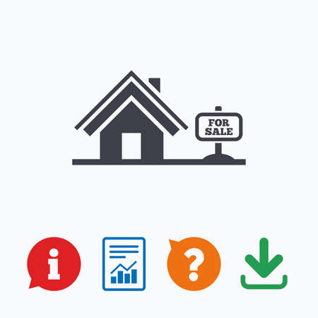 house for sale: Home sign icon. House for sale. Broker symbol. Information think bubble, question mark, download and report. Illustration