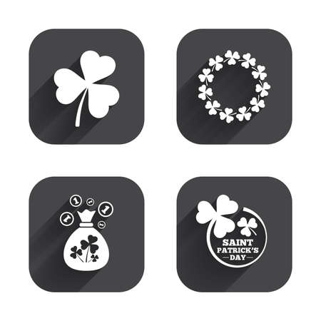 clover buttons: Saint Patrick day icons. Money bag with clover sign. Wreath of trefoil shamrock clovers. Symbol of good luck. Square flat buttons with long shadow.