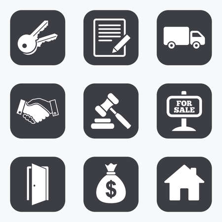 car for sale: Real estate, auction icons. Handshake, for sale and money bag signs. Keys, delivery truck and door symbols. Flat square buttons with rounded corners. Illustration