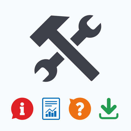 screw key: Repair tool sign icon. Service symbol. Hammer with wrench. Information think bubble, question mark, download and report. Illustration
