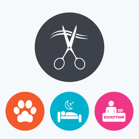 quiet room: Hotel services icons. With pets allowed in room signs. Hairdresser or barbershop symbol. Reception registration table. Quiet sleep. Circle flat buttons with icon. Illustration