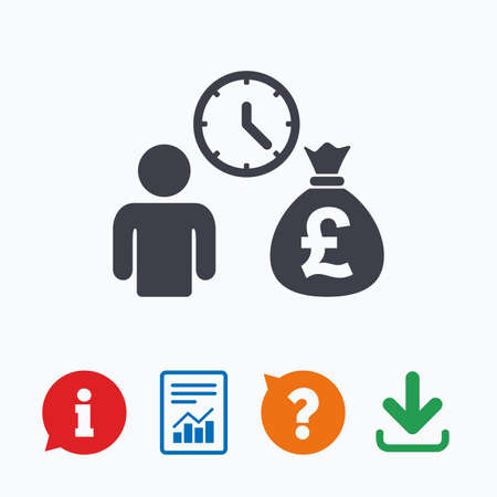borrow: Bank loans sign icon. Get money fast symbol. Borrow money. Information think bubble, question mark, download and report. Illustration
