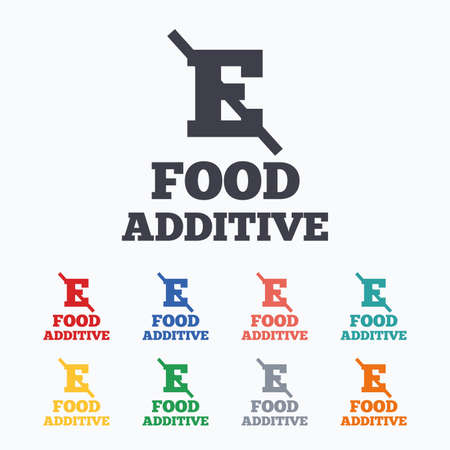 stabilizers: Food additive sign icon. Without E symbol. Healthy natural food. Colored flat icons on white background.