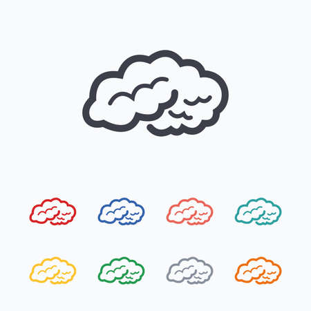 intelligent: Brain sign icon. Human intelligent smart mind. Colored flat icons on white background.