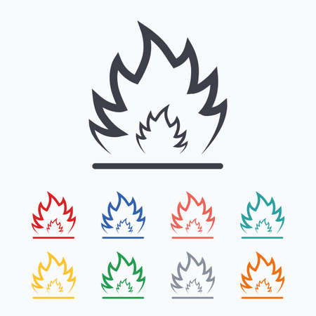 to heat: Fire flame sign icon. Heat symbol. Stop fire. Escape from fire. Colored flat icons on white background. Illustration