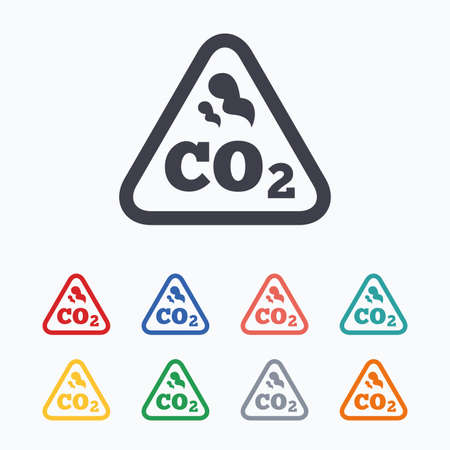 caution chemistry: CO2 carbon dioxide formula sign icon. Chemistry symbol. Colored flat icons on white background.