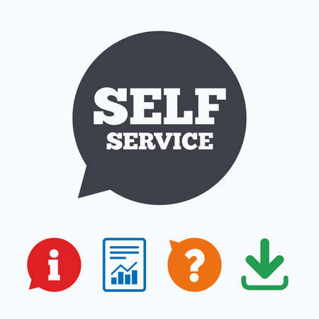 maintenance symbol: Self service sign icon. Maintenance symbol in speech bubble. Information think bubble, question mark, download and report. Illustration