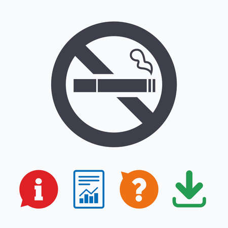 quit: No Smoking sign icon. Quit smoking. Cigarette symbol. Information think bubble, question mark, download and report.