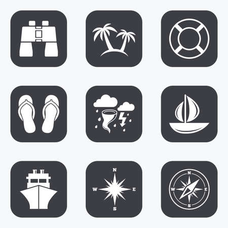 Cruise trip, ship and yacht icons. Travel, lifebuoy and palm trees signs. Binoculars, windrose and storm symbols. Flat square buttons with rounded corners.