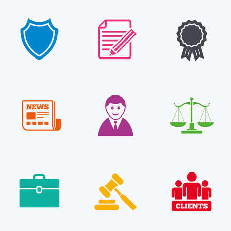 group icon: Lawyer, scales of justice icons. Clients, auction hammer and law judge symbols. Newspaper, award and agreement document signs. Flat colored graphic icons. Illustration
