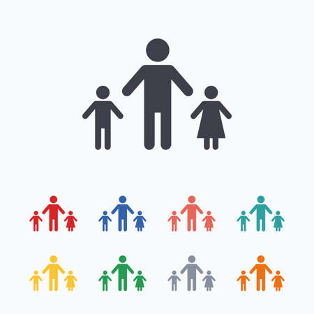 one parent: One-parent family with two children sign icon. Father with son and daughter symbol. Colored flat icons on white background.