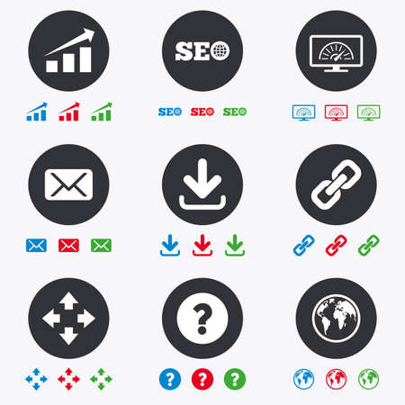 Internet, seo icons. Bandwidth speed, download arrow and mail signs. Hyperlink, monitoring symbols. Flat circle buttons with icons.
