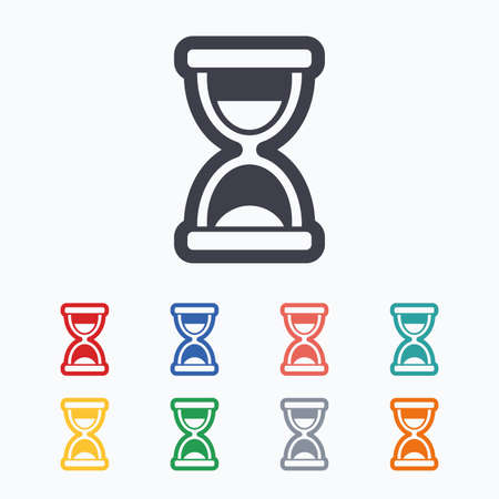 sand timer: Hourglass sign icon. Sand timer symbol. Colored flat icons on white background.