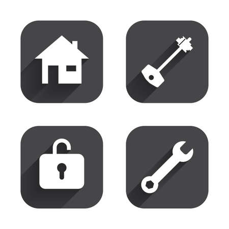 page long: Home key icon. Wrench service tool symbol. Locker sign. Main page web navigation. Square flat buttons with long shadow. Illustration