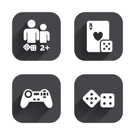 gamer: Gamer icons. Board games players signs. Video game joystick symbol. Casino playing card. Square flat buttons with long shadow. Illustration