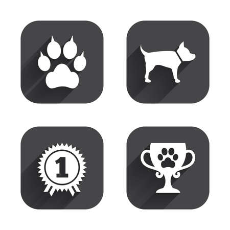 clutches: Pets icons. Cat paw with clutches sign. Winner cup and medal symbol. Dog silhouette. Square flat buttons with long shadow. Illustration