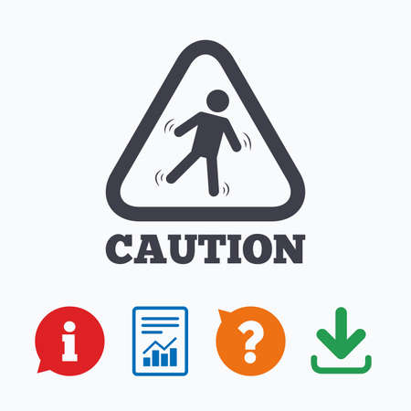 wet floor sign: Caution wet floor sign icon. Human falling triangle symbol. Information think bubble, question mark, download and report.